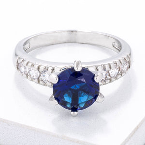 Simple Royal Blue CZ Engagement Ring