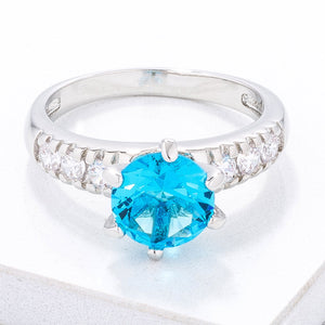 Simple Aqua Blue CZ Engagement Ring - Jewelry Xoxo