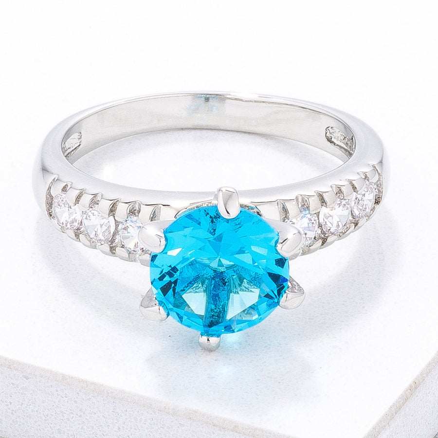 Simple Aqua Blue CZ Engagement Ring