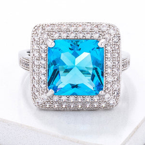 Stunning Aqua CZ Micropave Cocktail Ring