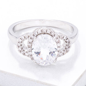 Exquisite Clear Oval Pave Engagment Ring - Jewelry Xoxo