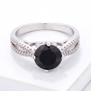 Delicate Pave Shoulder Black CZ Ring - Jewelry Xoxo