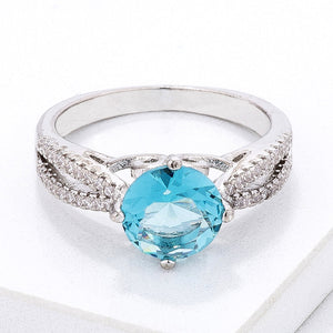 Delicate Pave Shoulder Ice Blue CZ Ring