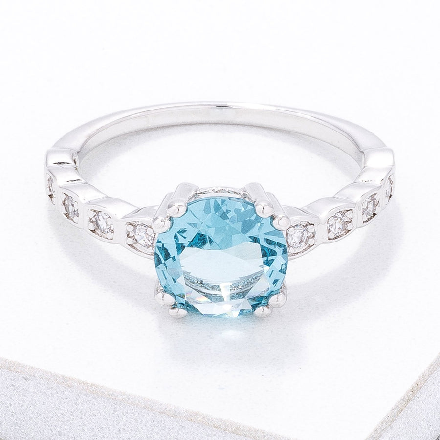 Contemporary 2.1 Ct. Aqua CZ Engagement Ring
