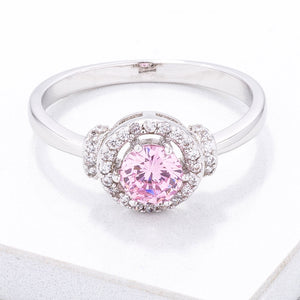 Mini Pink CZ 4mm Halo Ring - Jewelry Xoxo