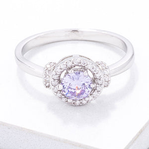 Mini Lavender CZ 4mm Halo Ring - Jewelry Xoxo