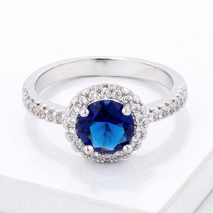 Timeless Blue CZ Pave Halo Ring - Jewelry Xoxo