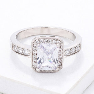 Elegant Clear Emerald Cut CZ Ring