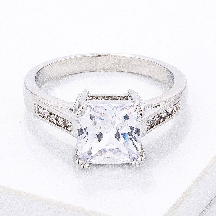 Classic Clear Princess Cut CZ Engagement Ring - Jewelry Xoxo