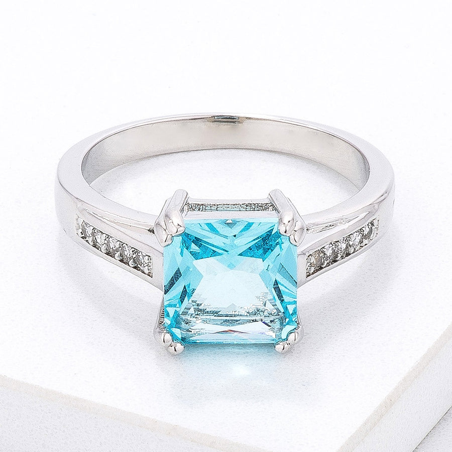 Classic Light Blue CZ Princess Cut Ring - Jewelry Xoxo