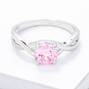 Simply Beautiful Twisted Pink CZ Ring - Jewelry Xoxo