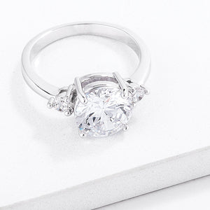 Classic Three Stone Clear CZ Engagement Ring - Jewelry Xoxo