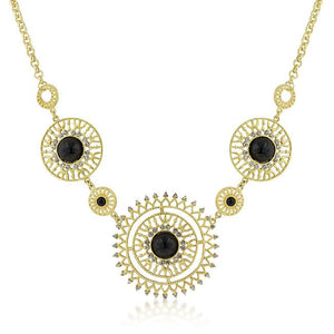 Midnight Sun Crystal and Onyx Cabochon Gold Necklace - Jewelry Xoxo