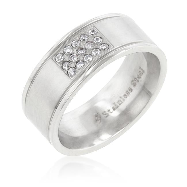 Stainless Steel Pave 15-Stone Mens Ring