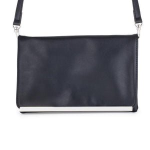Martha Black Leather Purse Clutch With Silver Hardware - Jewelry Xoxo
