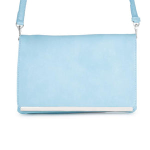 Martha Blue Leather Purse Clutch With Silver Hardware - Jewelry Xoxo