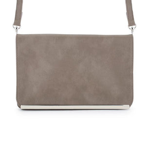 Martha Taupe Faux Leather Purse Clutch With Silver Hardware - Jewelry Xoxo
