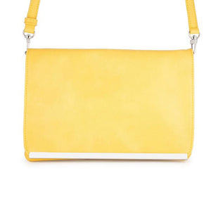 Martha Yellow Leather Purse Clutch With Silver Hardware - Jewelry Xoxo
