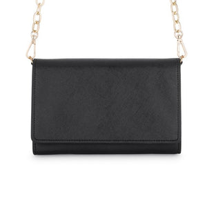 Carly Black Leather Purse Clutch With Gold Chain Crossbody - Jewelry Xoxo