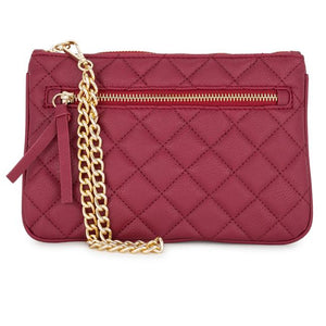 Alexis Red Quilted Faux Leather Clutch With Gold Chain Wristlet - Jewelry Xoxo