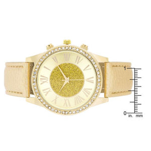 Shira Crystal Leather Watch With Gold Leather Strap - Jewelry Xoxo