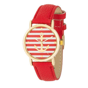 Nautical Red Leather Watch - Jewelry Xoxo