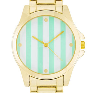 Gold Watch - Mint Stripe Dial - Jewelry Xoxo