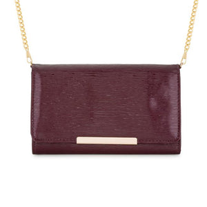 Laney Burgundy Textured Faux Leather Clutch With Gold Chain Strap - Jewelry Xoxo