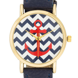 Navy Nautical Leather Watch - Jewelry Xoxo