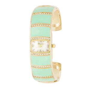 Gold Cuff Watch With Crystals - Mint - Jewelry Xoxo