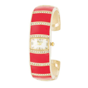 Gold Cuff Watch With Crystals - Pink - Jewelry Xoxo