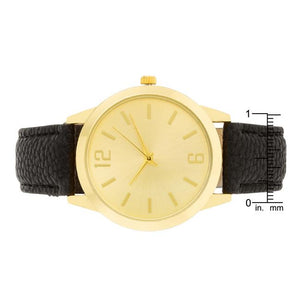 Gold Black Leather Watch - Jewelry Xoxo