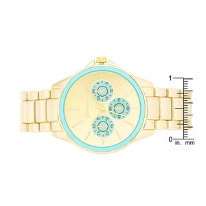 Chrono Gold Metal Watch - Jewelry Xoxo