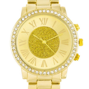Roman Numeral Goldtone Watch With Crystals - Jewelry Xoxo