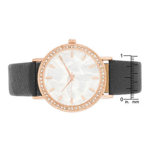 Rose Gold Shell Pearl Watch With Crystals - Jewelry Xoxo