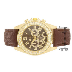 Brown Leather Watch With Crystals - Jewelry Xoxo