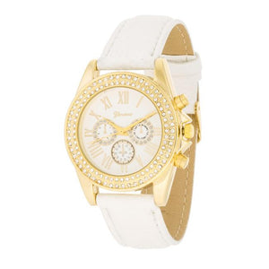White Leather Watch With Crystals - Jewelry Xoxo