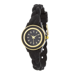 Carmen Braided Ladylike Watch With Black Rubber Strap - Jewelry Xoxo