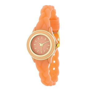 Carmen Braided Ladylike Watch With Coral Rubber Strap - Jewelry Xoxo