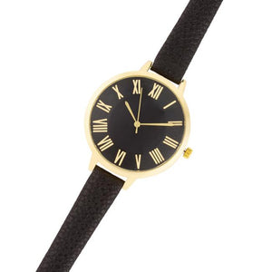 Gold Watch With Black Leather Strap - Jewelry Xoxo