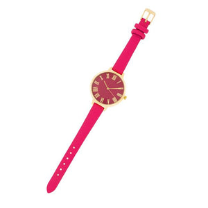 Gold Watch With Pink Leather Strap - Jewelry Xoxo