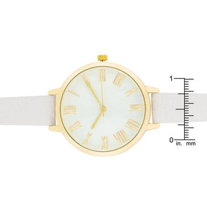 Gold Watch With White Leather Strap - Jewelry Xoxo