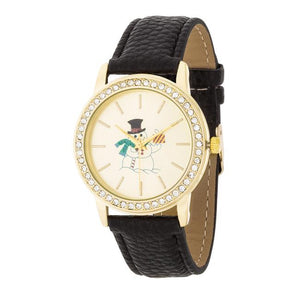 Gold Snowman Crystal Watch With Black Leather Strap - Jewelry Xoxo