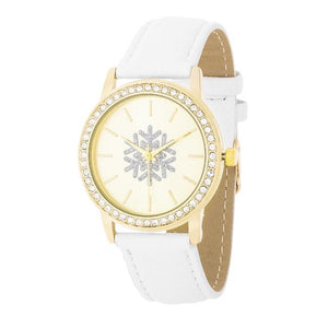 Gold Snowflake Crystal Watch With White Leather Strap - Jewelry Xoxo