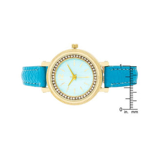 Georgia Gold Crystal Watch With Turquoise Leather Strap - Jewelry Xoxo
