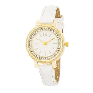 Georgia Gold Crystal Watch With White Leather Strap - Jewelry Xoxo