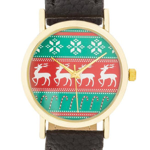 Gold Holiday Watch With Black Leather Strap - Jewelry Xoxo