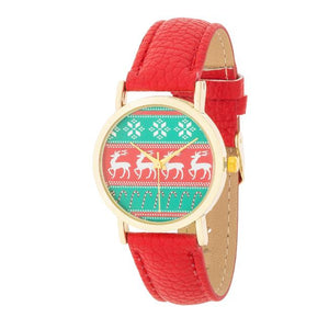 Gold Holiday Watch With Red Leather Strap - Jewelry Xoxo