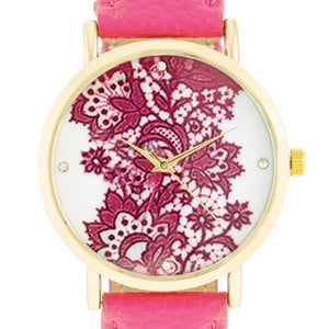 Gold Watch With Floral Print Dial - Jewelry Xoxo