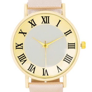 Gold Classic Watch With Champagne Leather Strap - Jewelry Xoxo